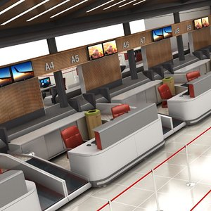 3D airport check-in counter model