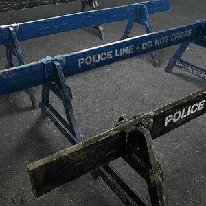 police barrier wooden model