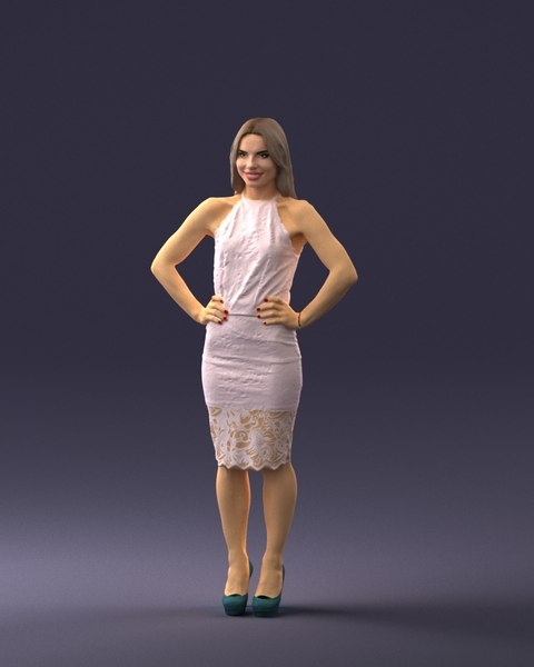 3D fashion woman posed scanned model