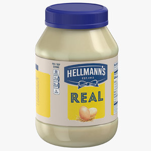 3D mayonnaise sauce jar model