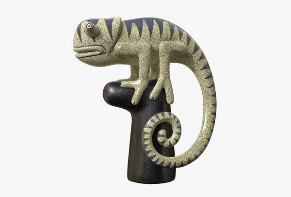 figurine sculpture hameleon 3D model