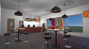 3D games fast food cafe furniture