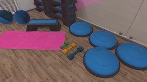 3D vr fitness hall - model