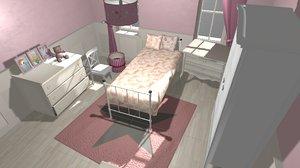 vr girl room interior model