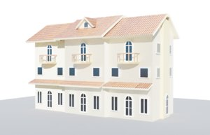 3D townhouse house town