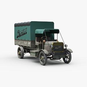 3D ww1 military truck berliet model