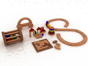 wooden toys 3D