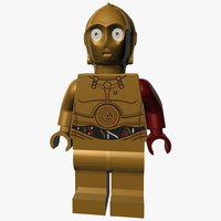 3d obj lego c-3po force awakens