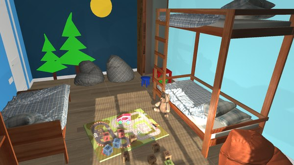 kids room - beds 3D