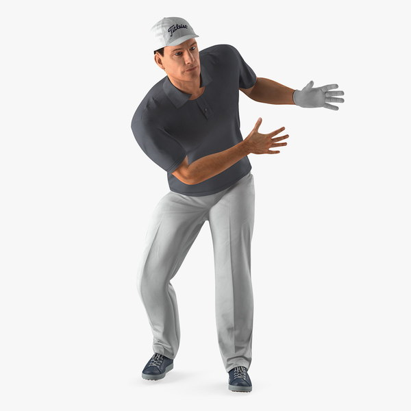 golf player rigged 3D model