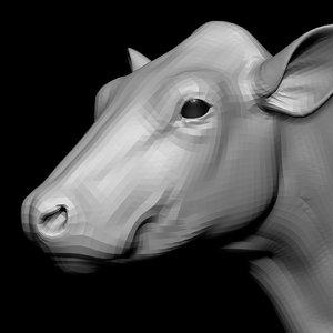 3D model cow head base mesh