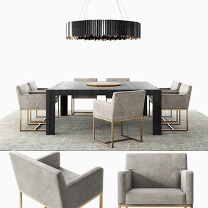 modern dining set emery 3D model