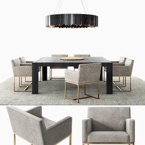 modern dining set emery 3D model