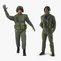 3D military pilots rigged