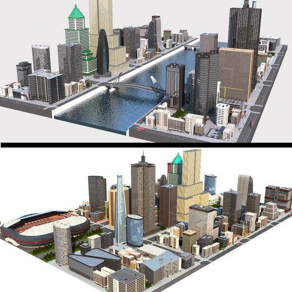 3D city cityscape skyline