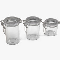 3D glass jars airtight lid