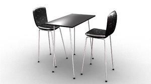 long leg table chair 3D model