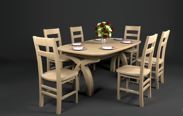 chair dining table set 3D model