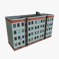 Panelbuilding - Plattenbau DDR - Russia Lowpoly Gameready for Engines