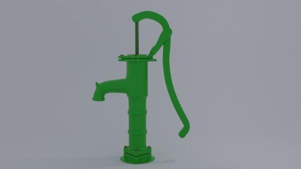 cast iron hand pump 3D model