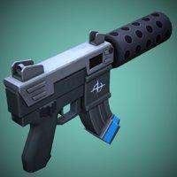 3D model stylized weapon tec 1