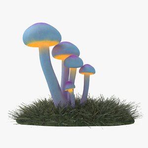 3D model glowing mushrooms