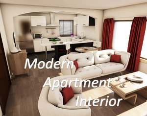 3D modern apartment interior lights