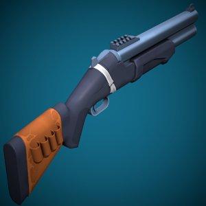 3D stylized weapon hs-12 shotgun