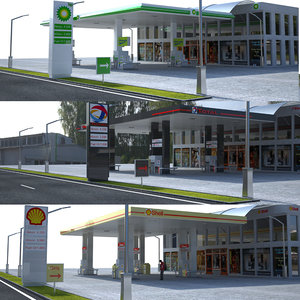 gas stations bp 3D model