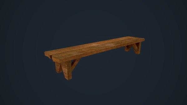 wooden bench 3D model