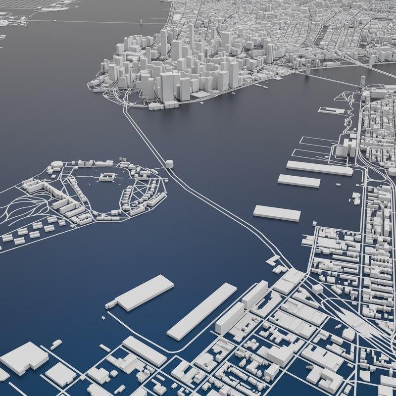 Map Of New York 3d.New York City Skyline Map Terrain Relief