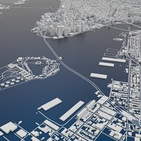 New York City Skyline Map terrain relief