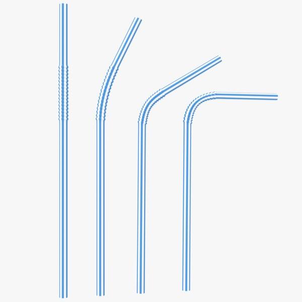 3D plastic drinking straws model