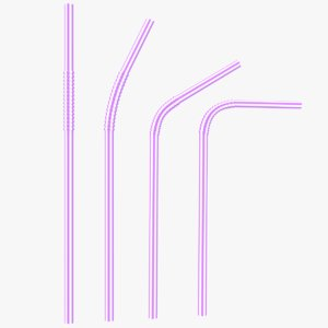plastic drinking straws 3D model