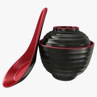 japanese soup bowl spoon 3D model