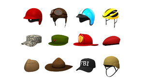 3D hats helmet pack 4