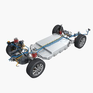3D electric car chassis model