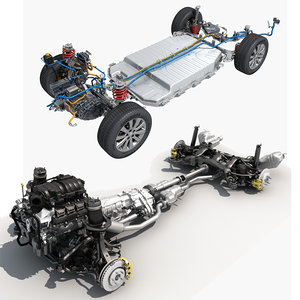 3D chassis electric car model