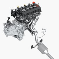 Engine with Exhaust