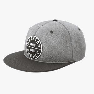 snapback baseball cap 3D model