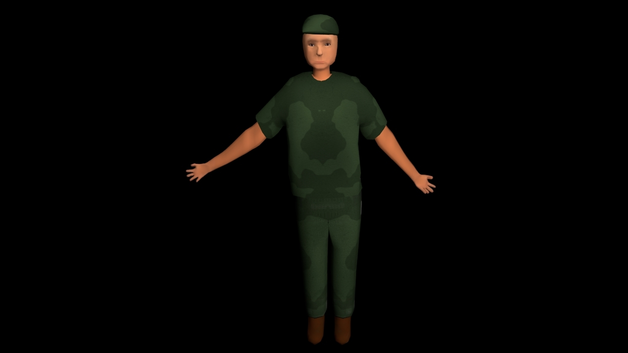 rigging male character 3D model