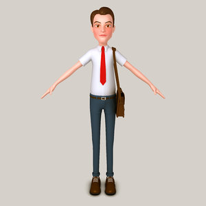 3D cartoon man bag model