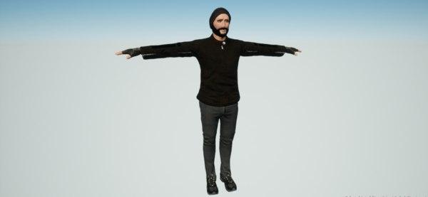 facial rigged 3D model