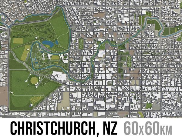 city christchurch surrounding - 3D model