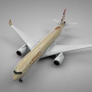 3D airbus a350-900 etihad airways model