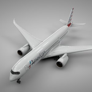 3D airbus a350-900 american airlines
