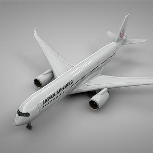 airbus a350-900 jal l222 3D model