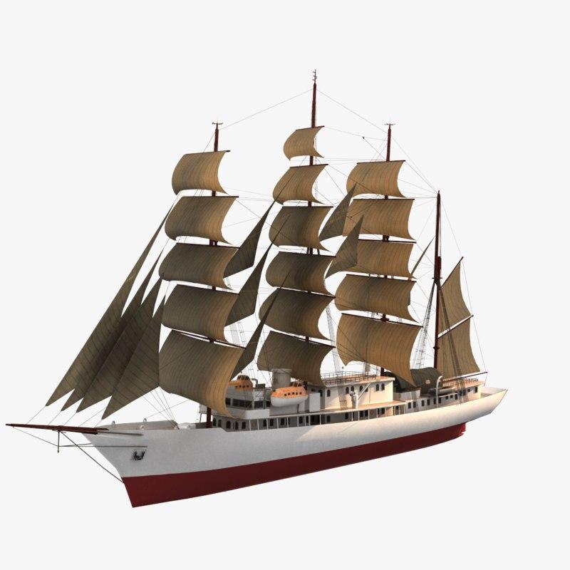 3D clipper sailing ship