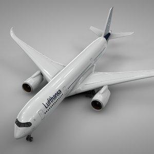 3D airbus a350-900 lufthansa l224