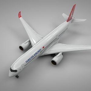 airbus a350-900 turkish airlines 3D model
